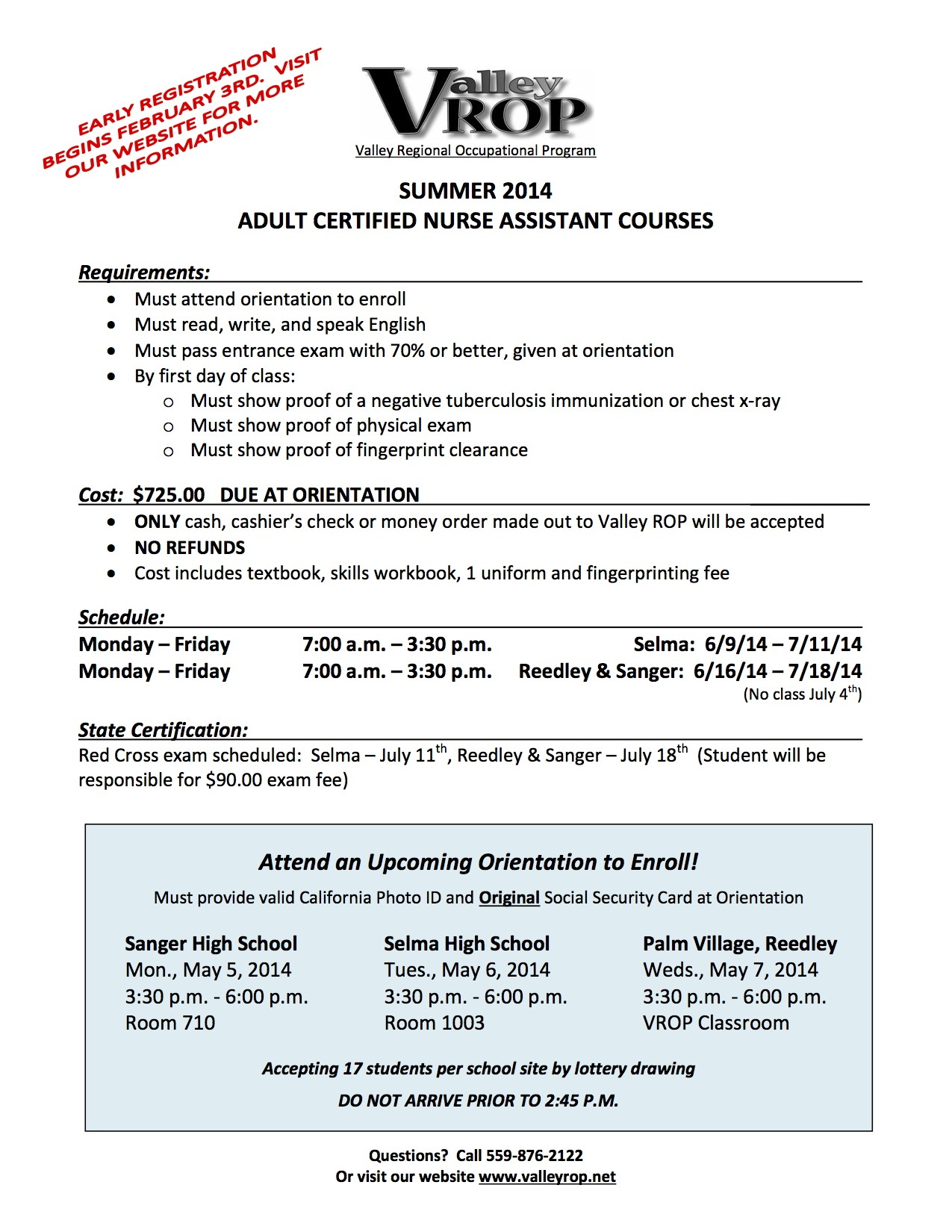 Valley Rop Summer 2014 Adult Certified Nurse Assistant Courses
