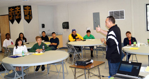 Ray Cedeno speaks to students during a drug awareness workshop. (Photo by Cheryl Senn)