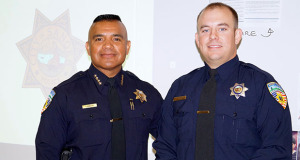 Sanger Police Chief Silver Rodriguez and Officer Brendon Johnson.