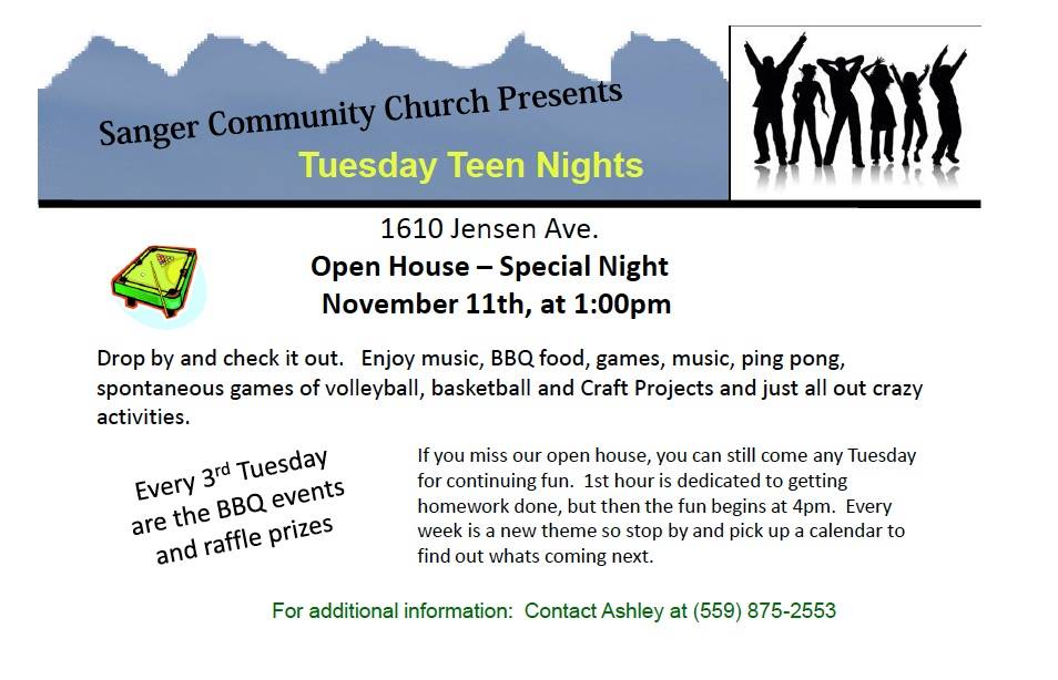 Sanger Community Church Tuesday Teen Nights 11.11