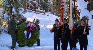 Sanger High NJROTC present colors while Park Rangers present the Memorial Wreath.