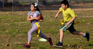 Flag football was one of the sports activities offered during the Winter Camp. (Photo by Cheryl Senn)