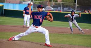 Jordan Paz pitches. (Photo by Cheryl Senn)