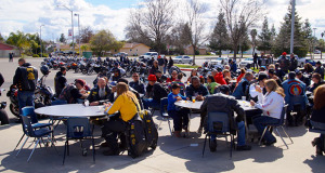 Bikers ate breakfast after their ride. (Photo by Cheryl Senn)