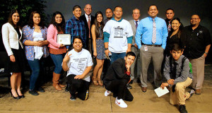 The Sanger High, Kings River High and Community Day School students who participated in Youth Court, pose with Hon. Judge Gary Hoff, Judge Leanne LeMon, who presided in Sanger Youth Court, and along with Sanger Unified staff and Sanger Police Department staff. (Photo by Cheryl Senn)