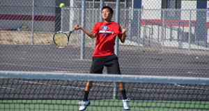 Jeremiah Yang, first singles for the Apaches, headed to Valley Championships. (Photo by Cheryl Senn)