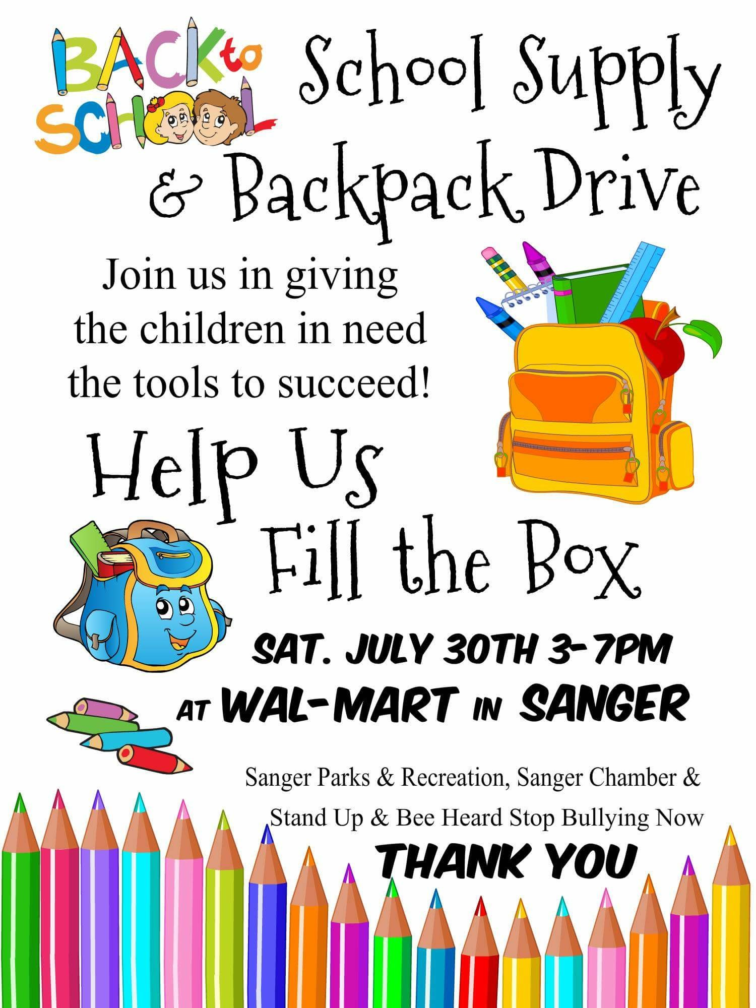 Back School School Supply Backpack Drive on A Multicultural Night