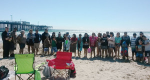 Group photo of the Unity Estates residents and chaperones on the Pismo Beach trip. (Photo by Ali Valencia)