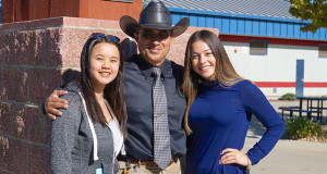 Sanger High Big Fresno Fair 4.0 & Above Program Scholarship Winners Cleo Yang and Alyssa Flores pose with Sanger High principal Dan Chacon. Pictured L to R - Yang , Chacon, and Flores. (Photo by Cheryl Senn)