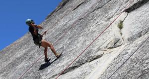 Adventure Risk Challenge (ARC) Summer Course participant,  Sanger High student Lilly Sanchez, rock climbing. (Photo by Michael Dominguez/ARC Outreach Coordinator)