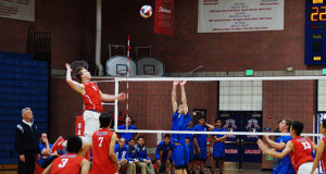 #8 Bryce Hayes spiking the ball to Madera. (Photo by Benjamin James Ayala)