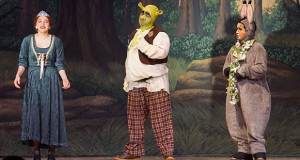 Fiona (Ciara Montana,, Shrek (Jimmy Haynie) and Donkey (Dmitrius Hopkins). (Photo by Cheryl Senn)