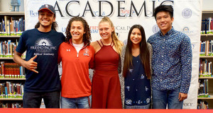 Academic & Athletic Scholarship recipients Matai Lealaimatafao, David Chavez, Maci Layne, Erika Hurtado and Casey Lin. (Photo by Cheryl Senn)