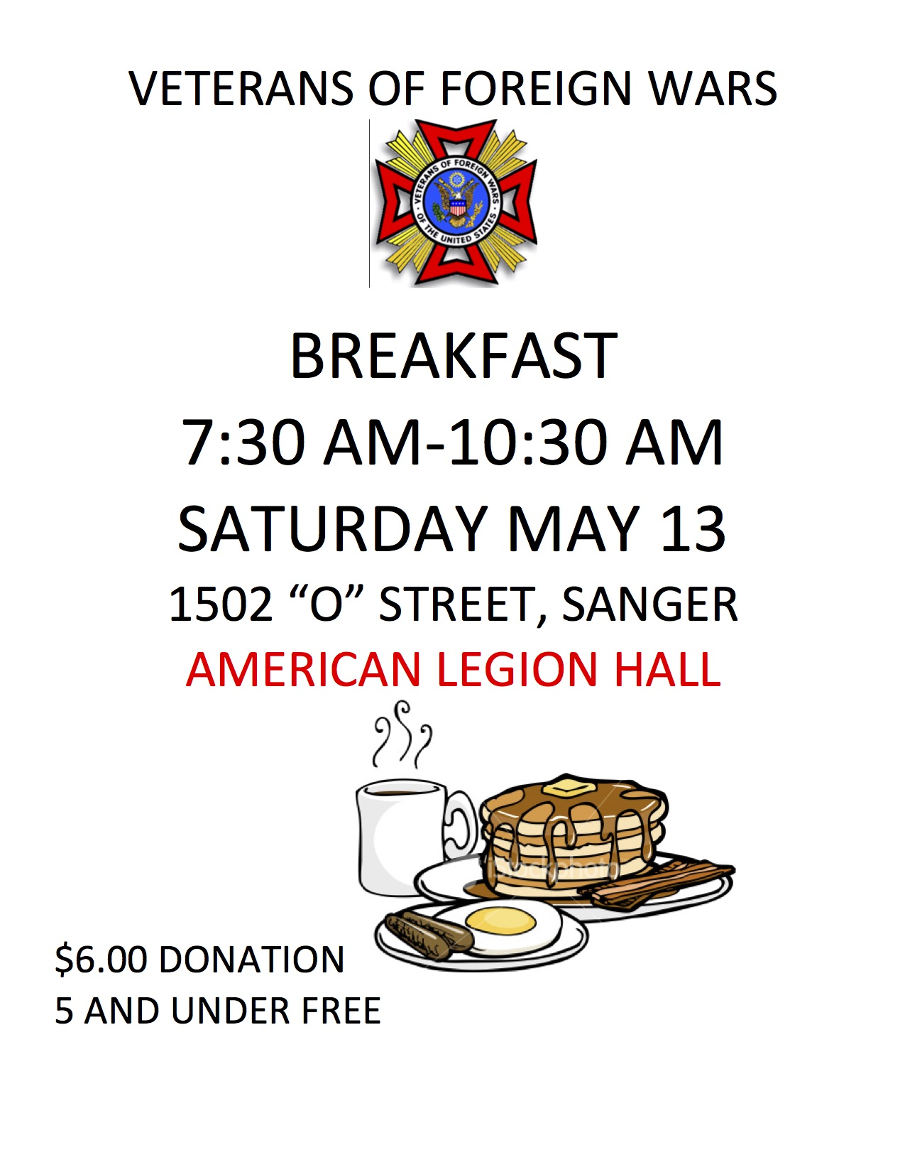 Veterans of foreign wars breakfast the sanger scene for American legion donation letter