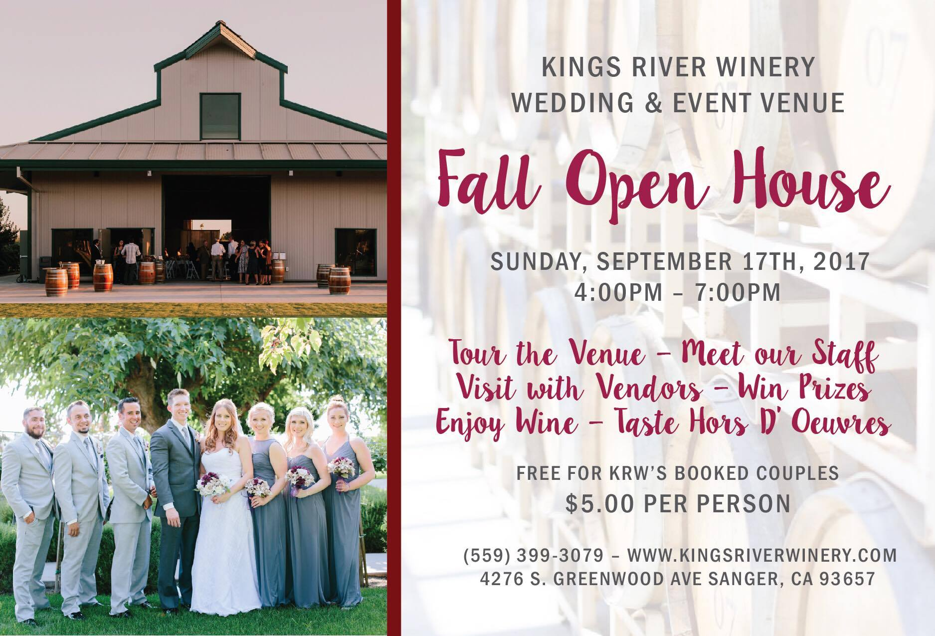Kings river winery wedding event venue fall open house for Grand interior designs kings heath